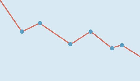 Colorful downward chart graph. Concept of business, fail, decrease.