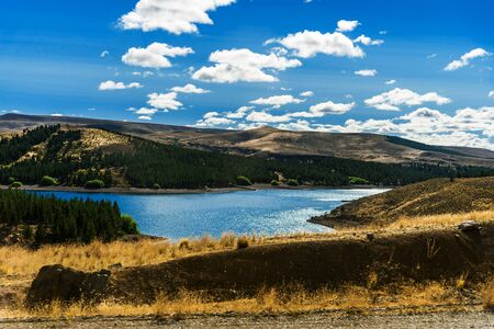 Photo pour Landscape of blue lakes, Andes mountains, and forest in Patagonia, Argentina. - image libre de droit