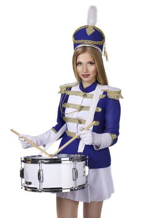 beautiful blond woman drummer