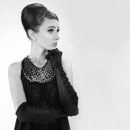 Foto de beautiful young woman in retro style . copy space. - Imagen libre de derechos