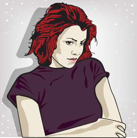 Illustration for vector illustration of a sad woman . copy space - Royalty Free Image