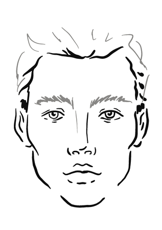 Illustration pour Man Face chart Makeup Artist Blank. Template. Vector illustration. - image libre de droit
