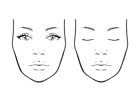 Illustration pour Face chart Makeup Artist Blank. Template. Vector illustration. - image libre de droit