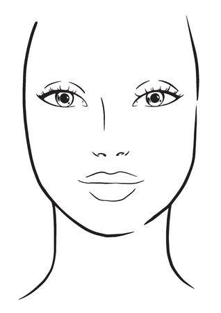Ilustración de Face chart Makeup Artist Blank. Template. Vector illustration. - Imagen libre de derechos