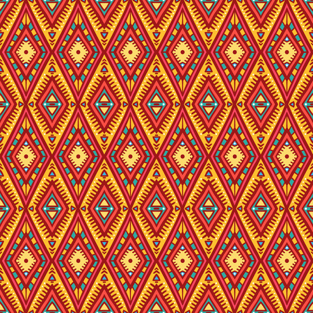 cute tribal orange and pink seamless pattern with rhombuses