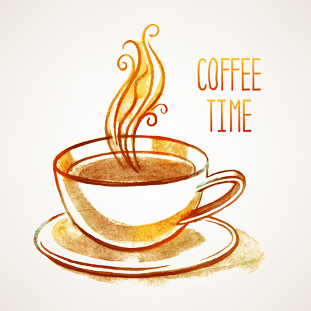 background with hand-drawn watercolor cup of coffee and place for text