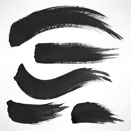 Illustration pour Set with a few black watercolor brush strokes - image libre de droit