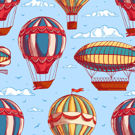 beautiful retro colorful seamless background with balloons and airships flying to cloudy sky