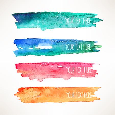 Ilustración de set of four colorful watercolor stroke backgrounds - Imagen libre de derechos
