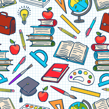 child colored background with school supplies. Globe, paints and brushes, books. hand-drawn illustration