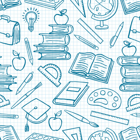 Illustration pour child blue background with school supplies. Globe, paints and brushes, books. hand-drawn illustration - image libre de droit