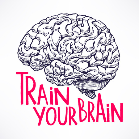 Illustration pour Train your brain. beautiful card with a human brain and motivational quote. hand-drawn illustration - image libre de droit