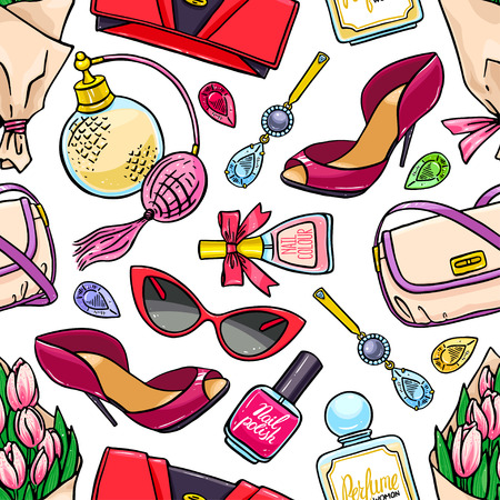 Illustration pour beautiful seamless background of female things - a bouquet of tulips, perfume and nail polish. hand-drawn illustration - image libre de droit