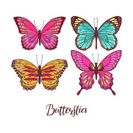 Ilustración de Beautiful set of colorful butterflies. hand-drawn illustration - Imagen libre de derechos