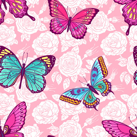 Illustration pour Beautiful seamless pattern of roses and colorful butterflies. Hand-drawn illustration - image libre de droit