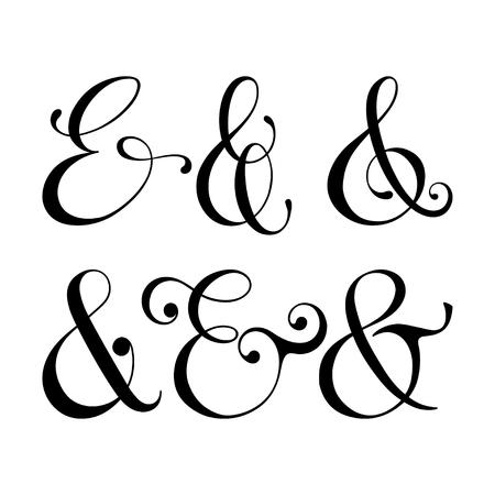 Illustration pour Collection of decoration ampersands. Hand drawn illustration. - image libre de droit