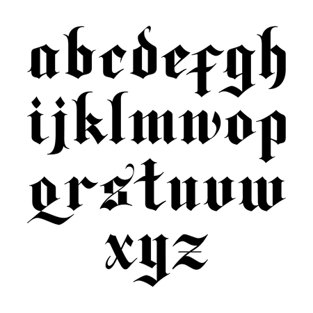 blackletter gothic vector font. lowercase letters