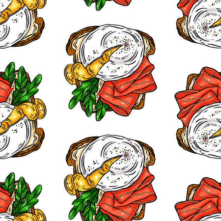 Illustration pour seamless background of delicious breakfast toasts eggs, fish and other ingredients. hand drawn illustration - image libre de droit