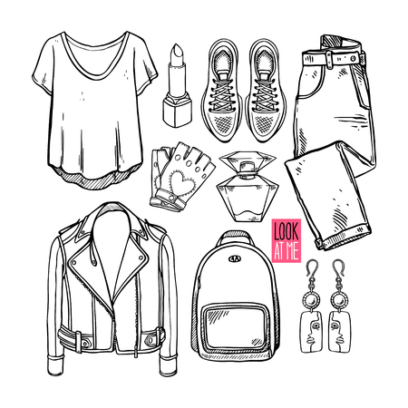 Illustration for Fashion collection of sketch girl clothing and accessories. Casual woman style. Hand-drawn illustration - Royalty Free Image