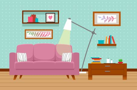 Illustration for Living room interior with sofa, table, lamp. Vector illustration - Royalty Free Image