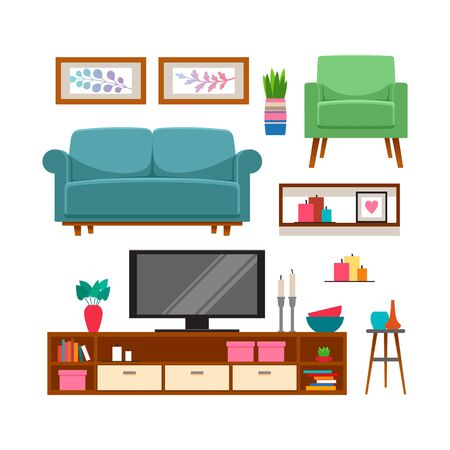 Illustration for Furniture and home accessories set. Vector illustration - Royalty Free Image