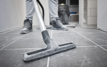 Photo pour After builders cleaning with vacuum cleaner and copy space - image libre de droit