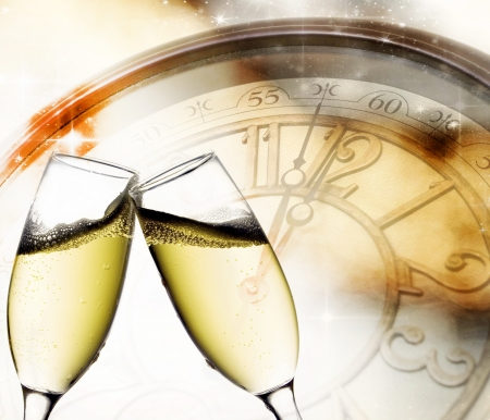 background with champagne glasses and clock