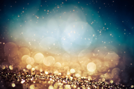 Photo pour abstract Christmas background with holiday lights and copy space - magic bokeh glitter with blinking stars and falling snowflakes - image libre de droit