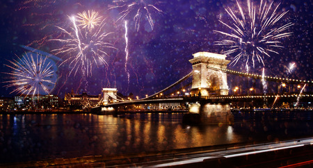 celebrating New Year in the city - Chain bridge with fireworks over the Danube, Budapest, Hungary