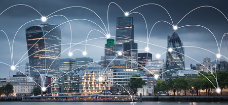 Foto de smart city and connection lines. Internet concept of global business, London, UK - Imagen libre de derechos
