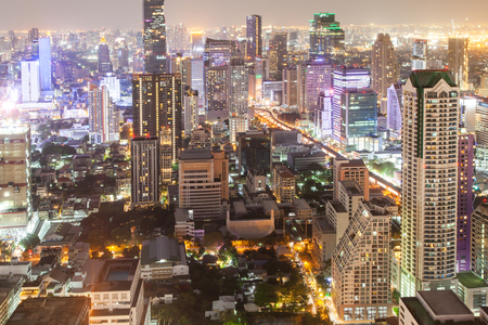 Photo for aerial night view of Bangkok City skyscrapers Thailand - Royalty Free Image