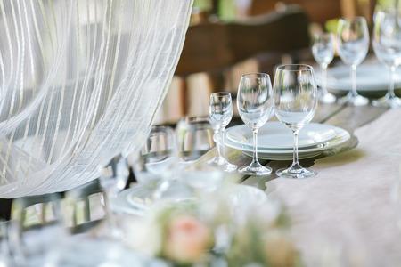 Festive table setting. Wedding decor.