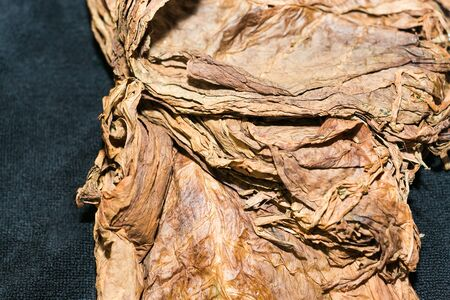 Enlarged image of compressed and dried fermented tobacco leaves of better quality.