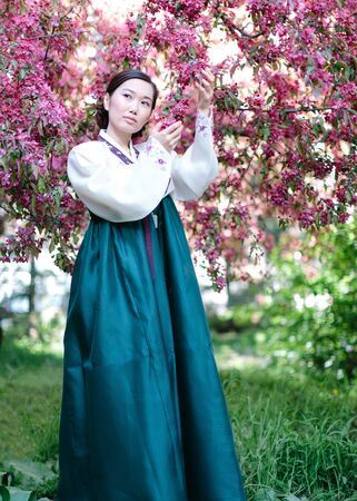 Photo pour A young Korean girl in a beautiful white and sea-coloured vibrant traditional costume surrounded by blossoming pink cherry trees poses on camera with her hands facing the flowers - image libre de droit
