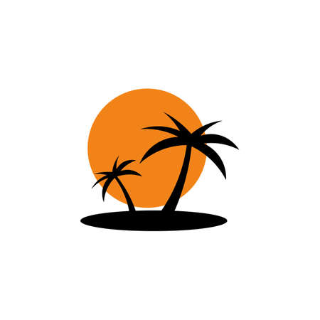 Illustration for Colored icon of palm trees on the island, sunset. - Royalty Free Image
