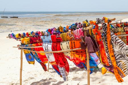 Beautiful colourful scarfes at Kenyas Beach