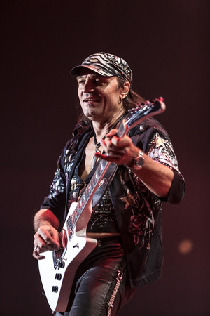 DNIPROPETROVSK, UKRAINE - OCTOBER 31: Matthias Jabs from Scorpions rock band performs live at Sports Palace SC Meteor.  Final tour concert on October 31, 2012 in DNIPROPETROVSK, UKRAINE