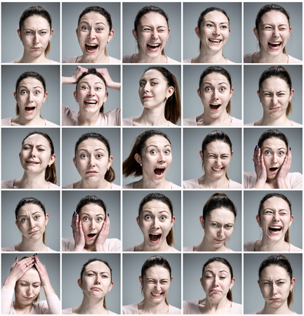 Set of young woman\'s portraits with different emotions on gray background
