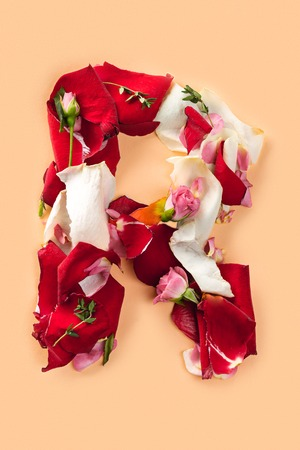 Letter R made from red roses and petals isolated on a white background