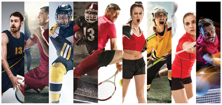Sport collage about soccer, american football, badminton, tennis, boxing, ice and field hockey, table tennis