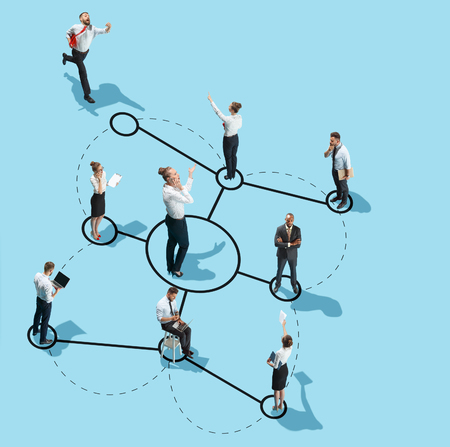 Conceptual image of business processes with businessman and businesswoman. Flat isometric view. Business, recruitment, human resources, communication, internet, teamwork and network concept. Miniature people. Collage