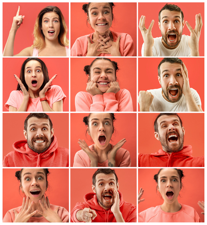 Delight. Beautiful female and male portrait isolated on coral studio backgroud. Young, emotional, smiling, surprised women and man. Human emotions, facial expression concept. Trendy colors. Collage