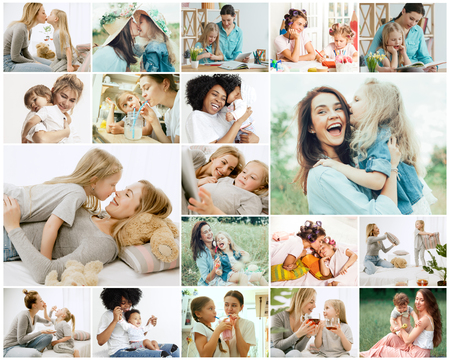 Photo pour Collage about young mother and her little daughter. Happy family time on weekend. Mothers Day concept. Love, lifestyle, motherhood and tender moments concepts. - image libre de droit