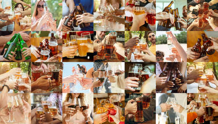 Photo pour Collage of hands of young friends, colleagues during beer drinking, having fun, clinking bottles, glasses together. Collage design. Oktoberfest, friendship, togetherness, happiness, holidays concept - image libre de droit