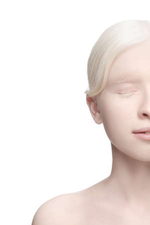 Foto für Soft, milk. Portrait of beautiful albino woman isolated on white studio background. Beauty, fashion, skincare, cosmetics concept. Copyspace. Well-kept skin, fresh look. Inclusion and diversity. - Lizenzfreies Bild
