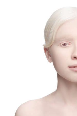 Photo pour Calm, tender. Portrait of beautiful albino woman isolated on white studio background. Beauty, fashion, skincare, cosmetics concept. Copyspace. Well-kept skin, fresh look. Inclusion and diversity. - image libre de droit