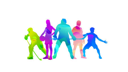 Photo pour Sport collage made of drawing sportsmen with bright fluid colors isolated on white studio background. Concept of art, inspiration, wellness, healthy lifestyle in action and motion. Flyer, copyspace. - image libre de droit