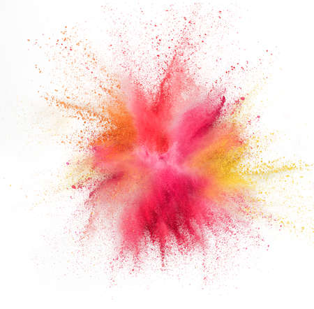 Photo pour Yellow pink and red bomb. Explosion of colored, fluid and neoned powder on white studio background with copyspace. Trendy, modern colors. Festival, design, beauty concept. Splashing of colors. - image libre de droit
