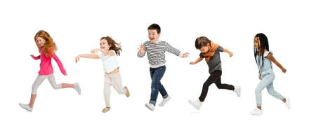 Photo pour Art collage made of portraits of little and happy kids isolated on white studio background. Human emotions, facial expression concept - image libre de droit