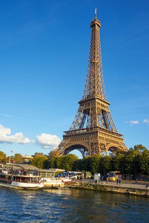Photo pour Eiffel Tower Taken From A Boat At Seine River - image libre de droit